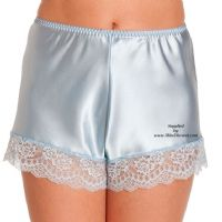 Sexy Baby Blue Satin French Knickers with Matching Blue Lace Trim - Size UK 10 to UK 28